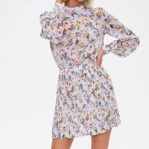 NWT Forever 21 purple floral long sleeve skirt set